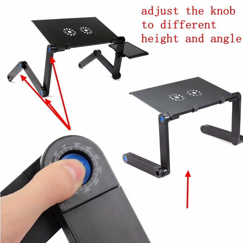 Portable 360 Folding Laptop - Table 2 Holes Cooling Laptop Stand Desk Holder with Mouse