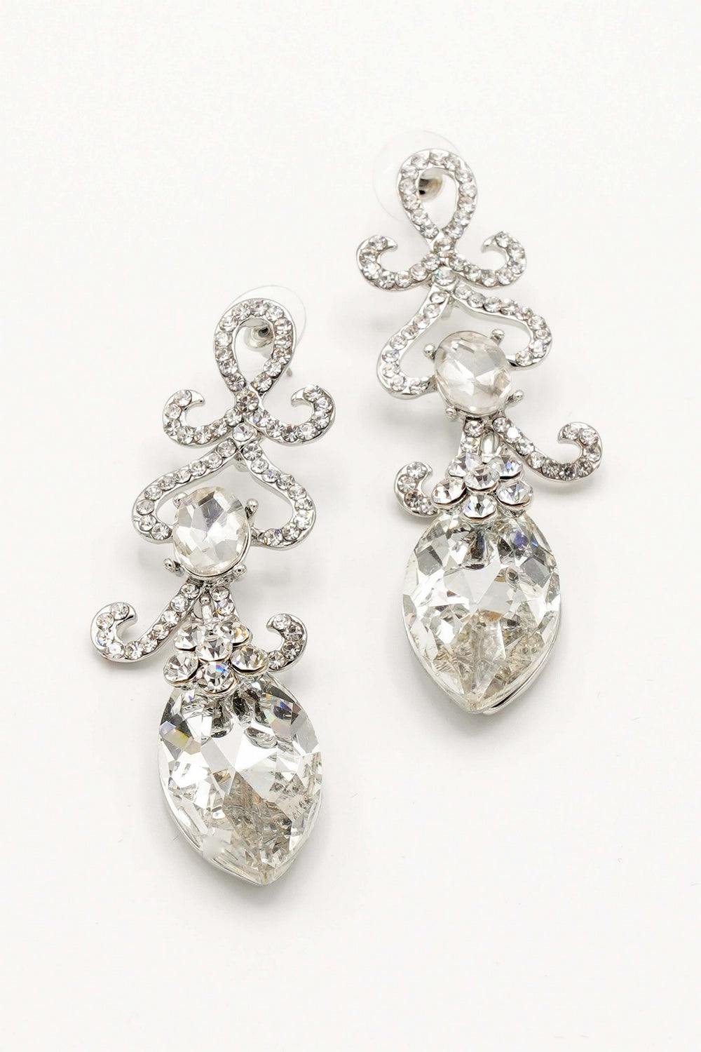 ELEGANT FLORAL DROP CLEAR DIAMANTE FASHION EARRINGS BY NARIANNA