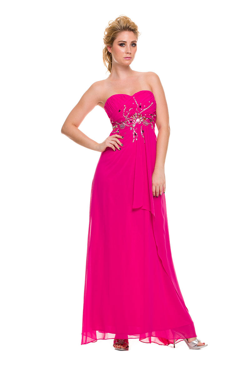 SWEETHEART CHIFFON PROM DRESS WITH BEADED BODICE 2730 BY NARIANNA