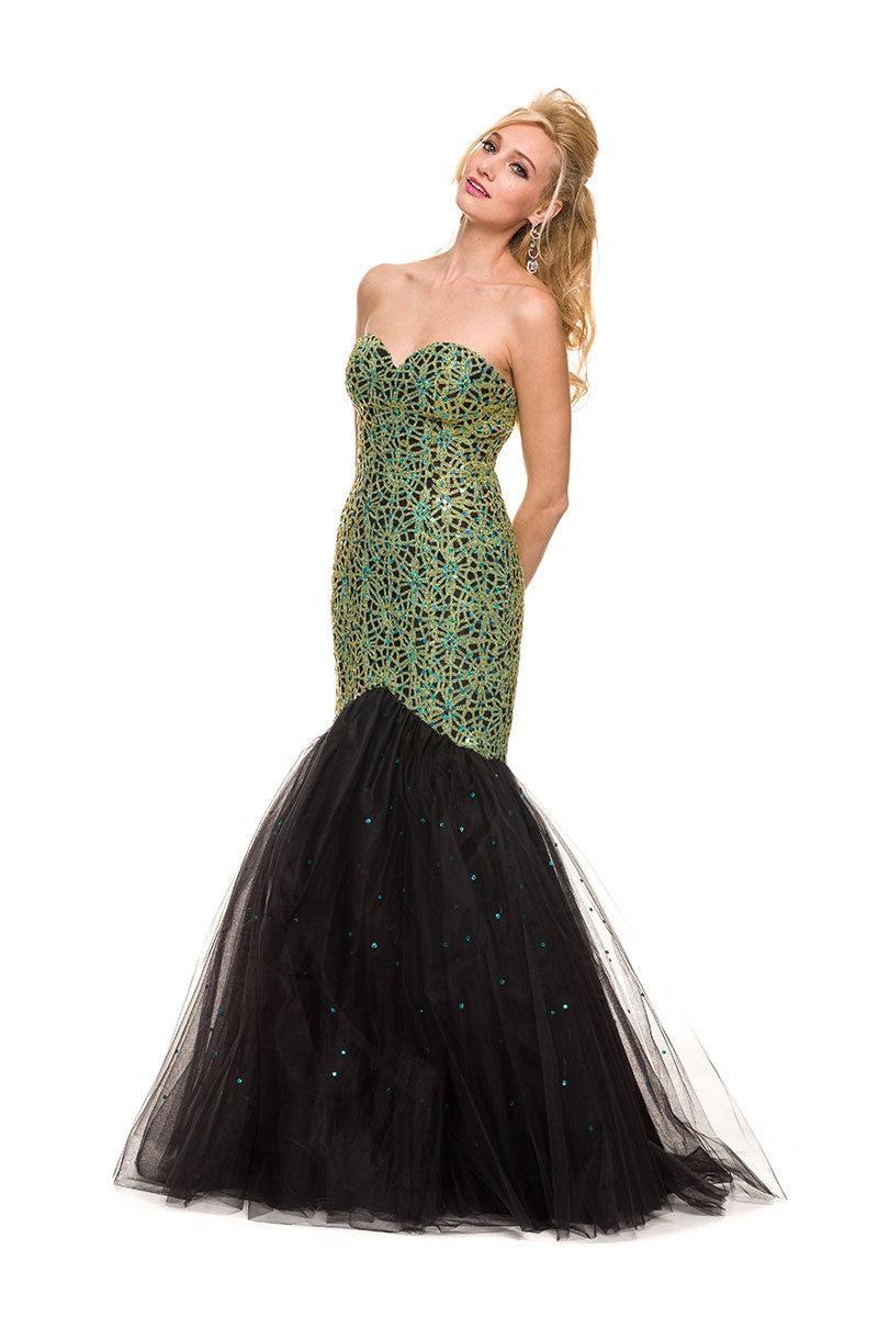 Sequin bodice, Mermaid A-line Long Dress_3123 BY NARIANNA