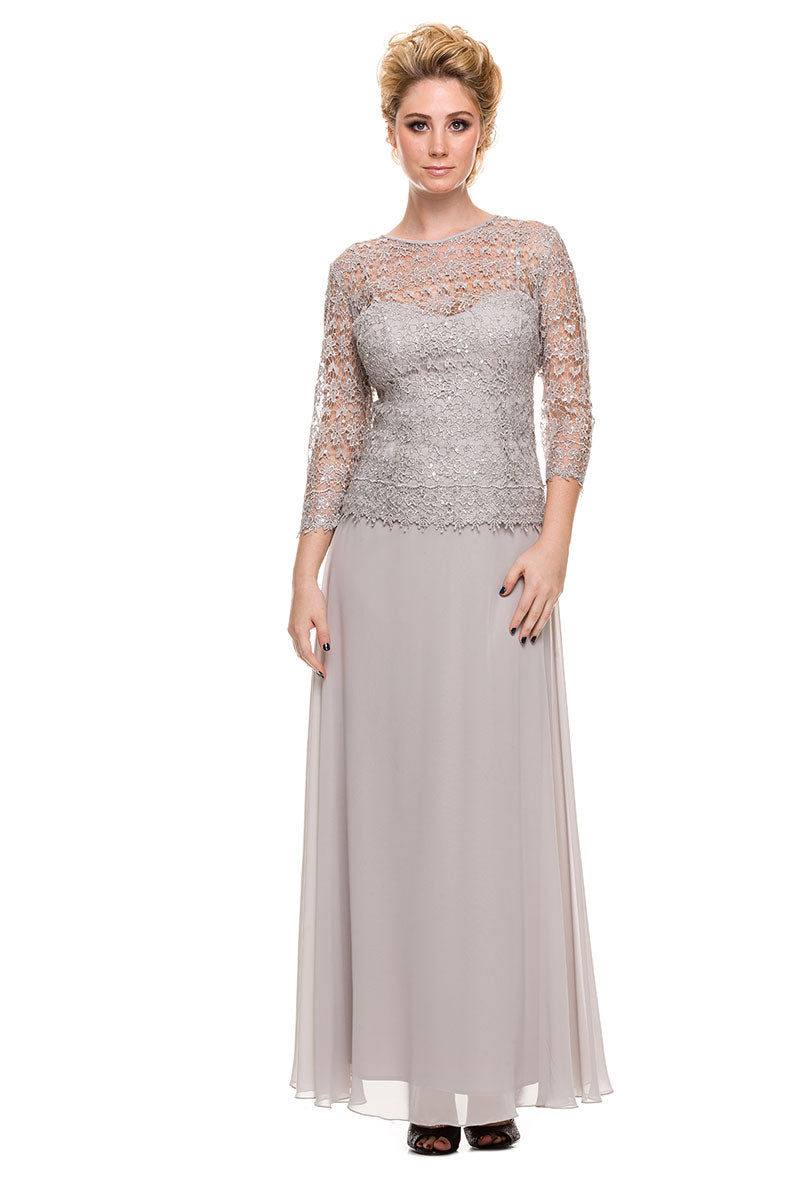 VISIBLE SWEETHEART INNER-LAY LACE OVERLAY TOP LONG MOTHER OF THE BRIDE DRESS NX5083