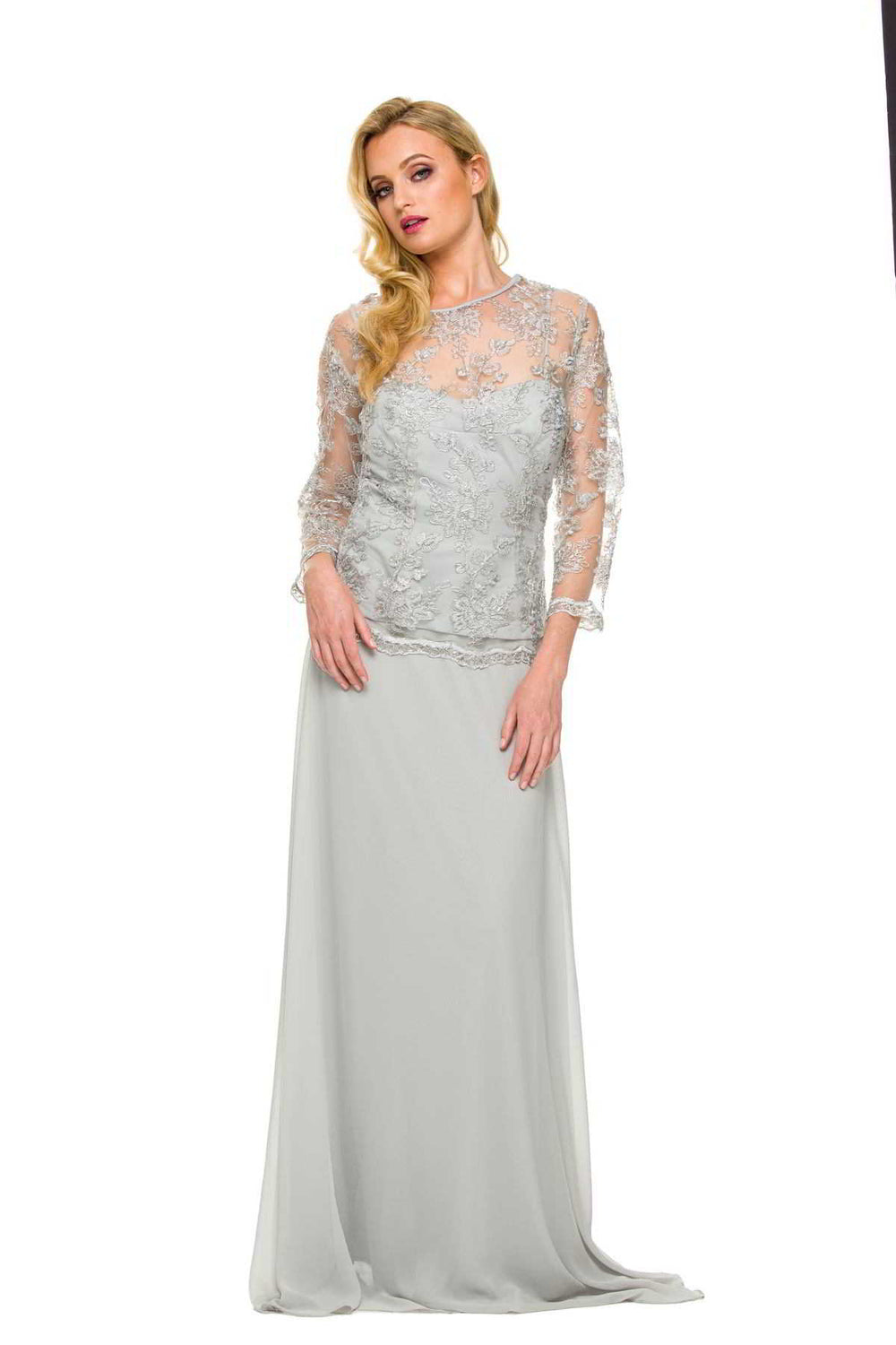 SHEER LACE JEWEL NECKLINE MOTHER OF THE BRIDE AND GROOM DRESS