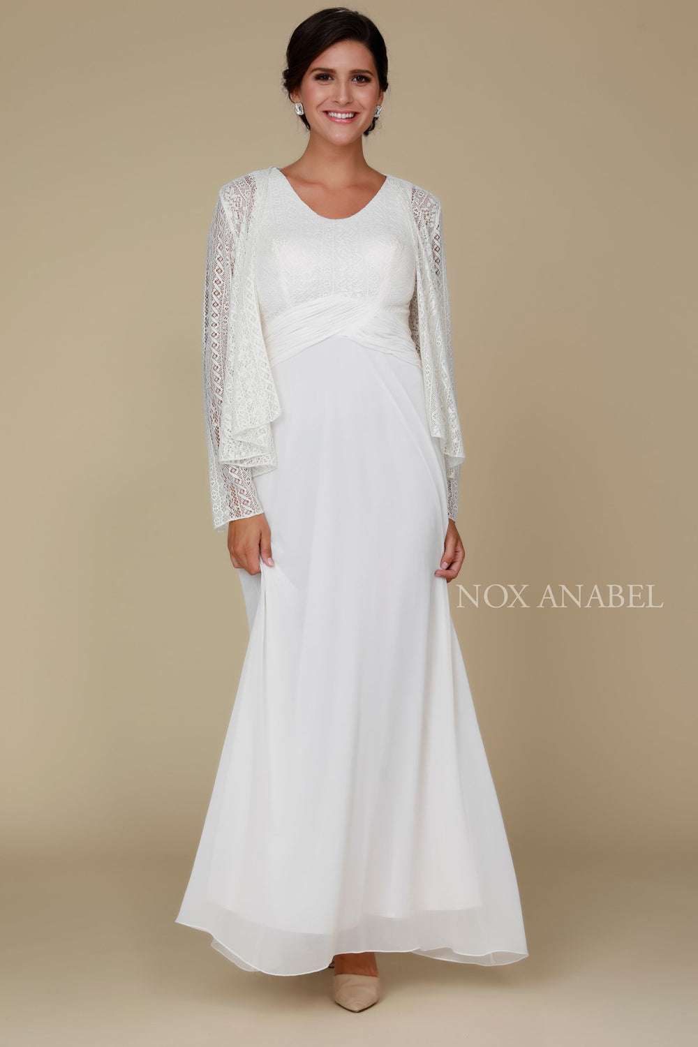 MOTHER OF BRIDE AND GROOM LACE DRESS WITH LONG SLEEVE JACKET