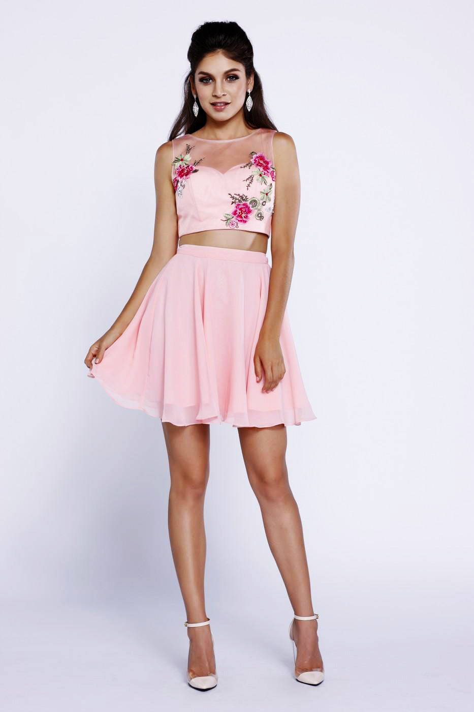 Pink Crop Top Floral Embroidered Dress_6246 BY NARIANNA