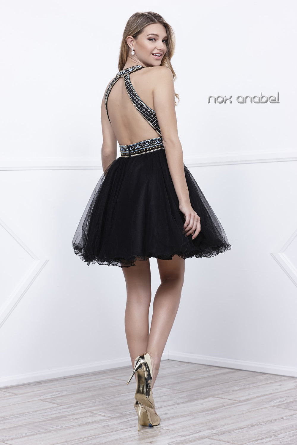 HALTER NECKLINE KEYHOLE JEWELED EMBELLISHED PROM DRESS 6260 BY NARIANNA