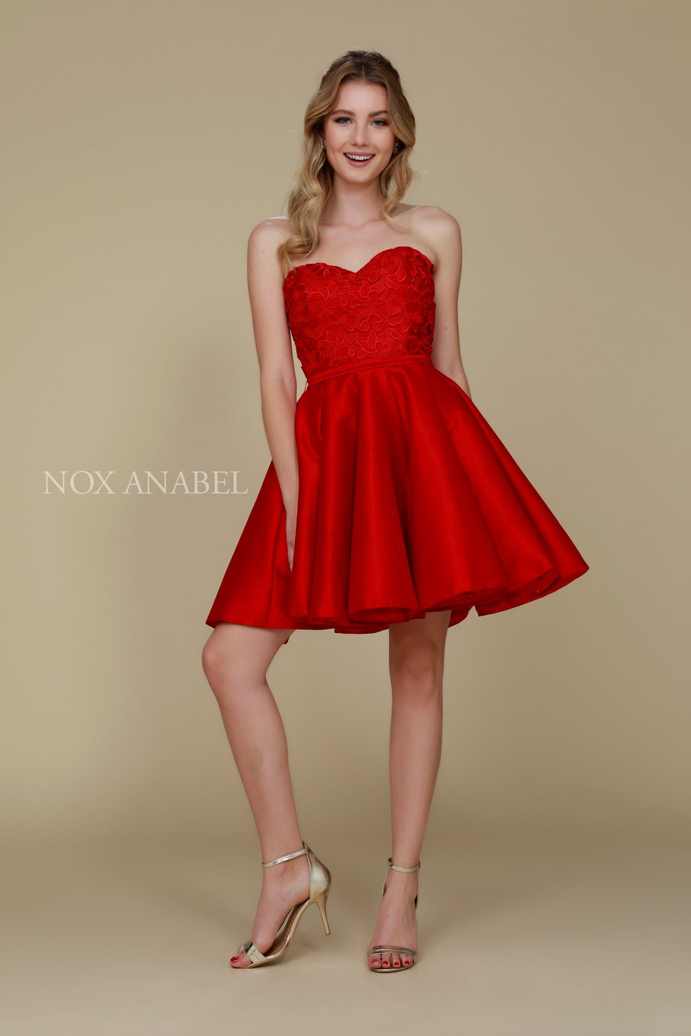 FLORAL LACE STRAPLESS SWEETHEART SHORT HOME COMING DRESS 6265 BY NARIANNA
