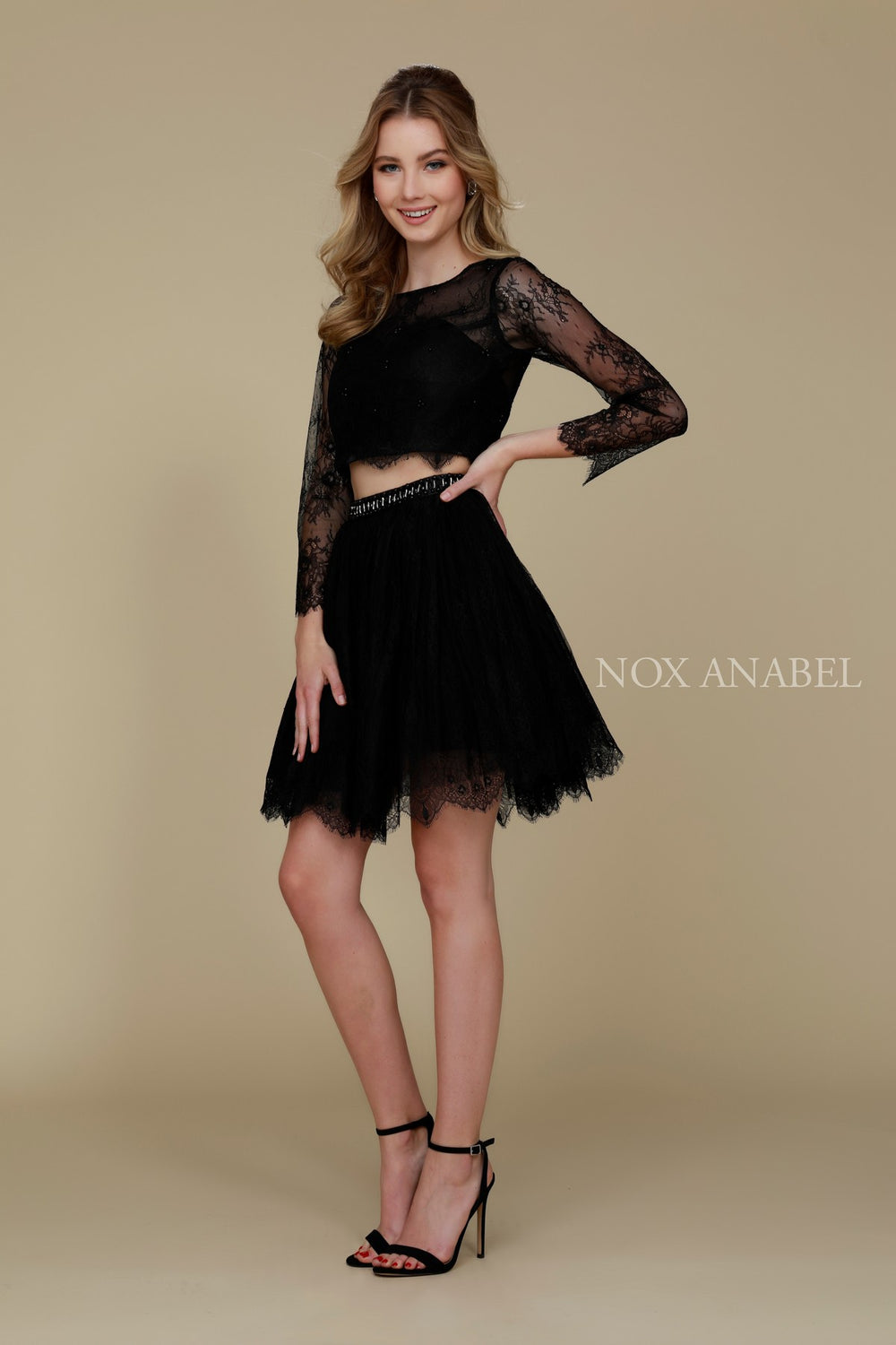 TWO PIECE LACE LONG SLEEVE SHORT HOME COMING DRESS # 6268 NARIANNA