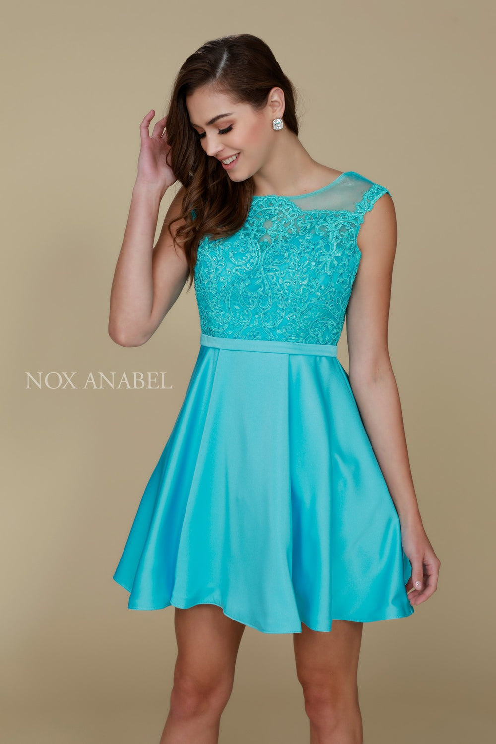 JEWEL ILLUSION NECKLINE WITH LACE EMBROIDERED SHORT PARTY DRESS