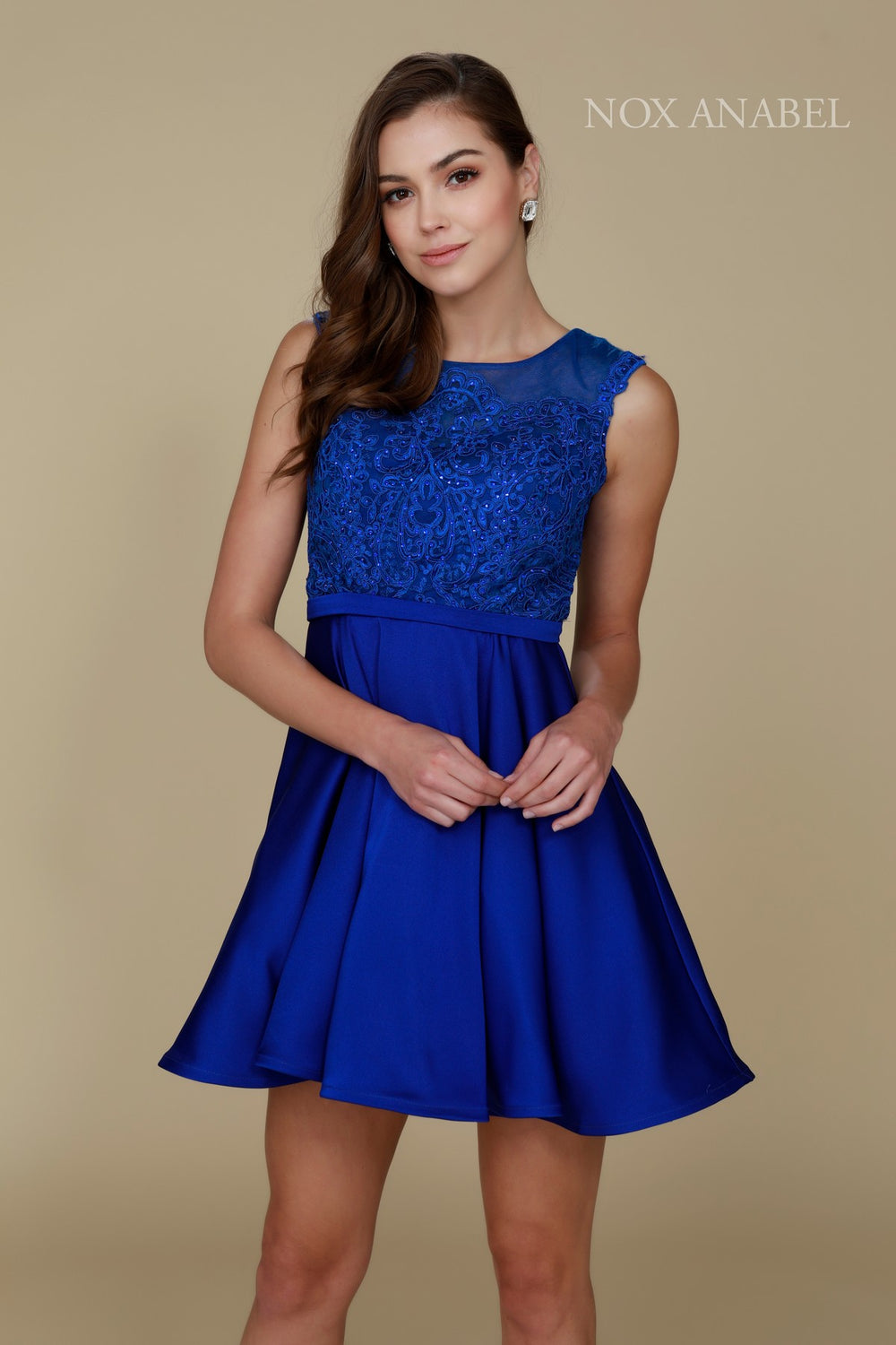JEWEL ILLUSION NECKLINE WITH LACE EMBROIDERED SHORT PARTY DRESS 6288 BY NARIANNA
