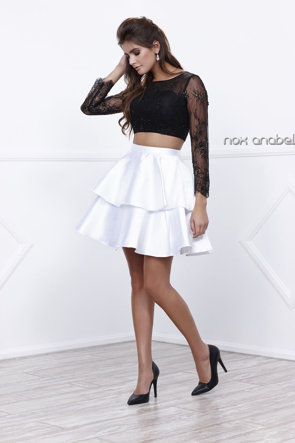TWO-PIECE LACED FULL SLEEVE TOP SHORT COCKTAIL DRESS