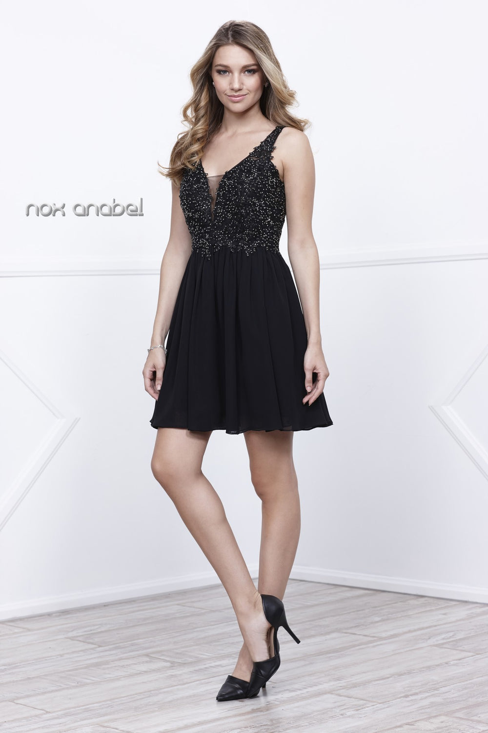 BEADED V-NECK SCOOP BACK A-LINE COCKTAIL HOMECOMING DRESS 6291 BY NARIANNA