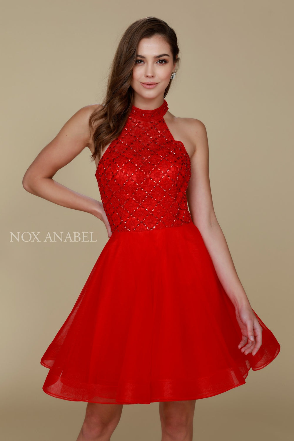 BEADED EMBELISHED ILLUSION HIGH HALTER A-LINE PROM DRESS