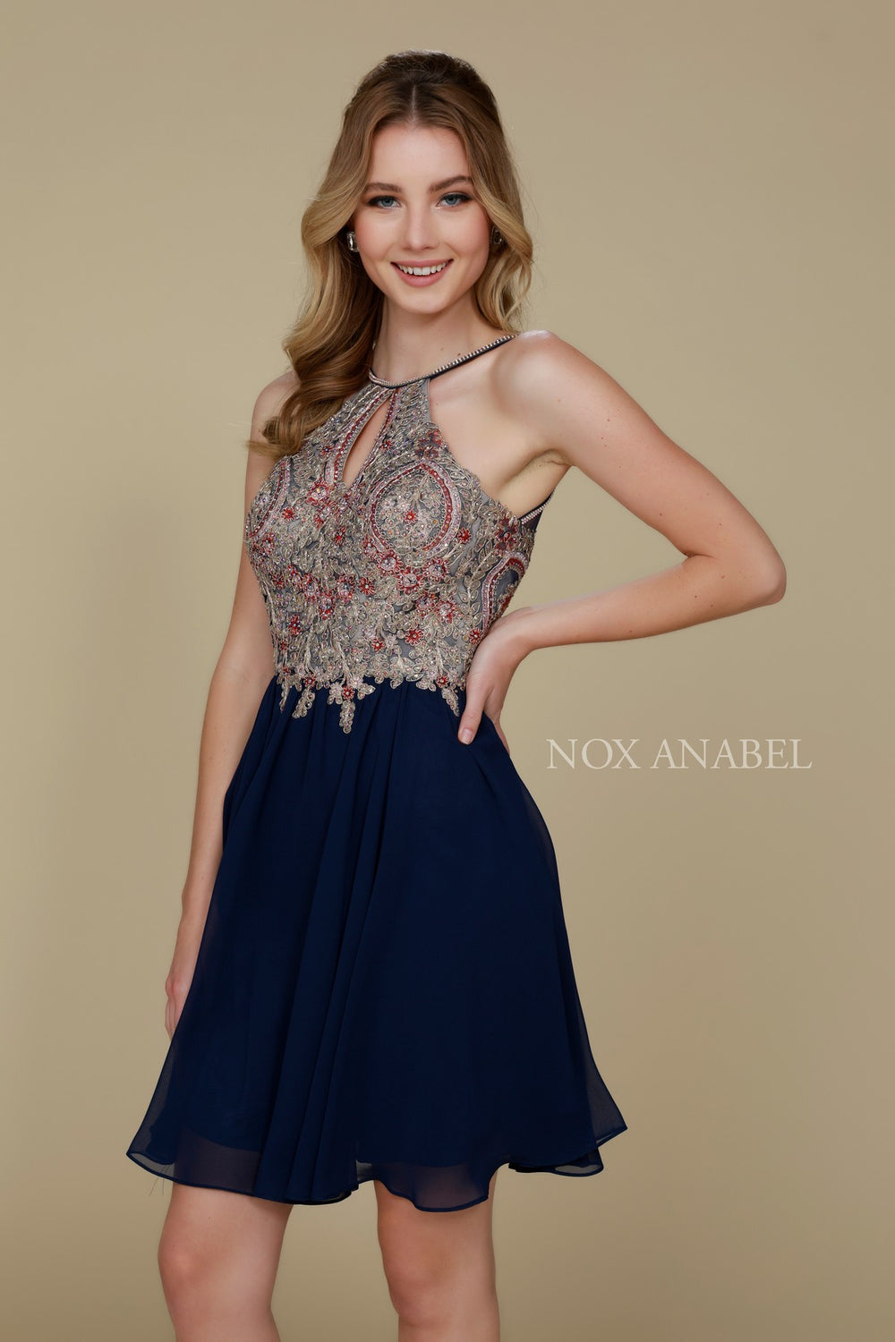 HOMECOMING LACE HALTERNECK DRESS 6324 BY NARIANNA