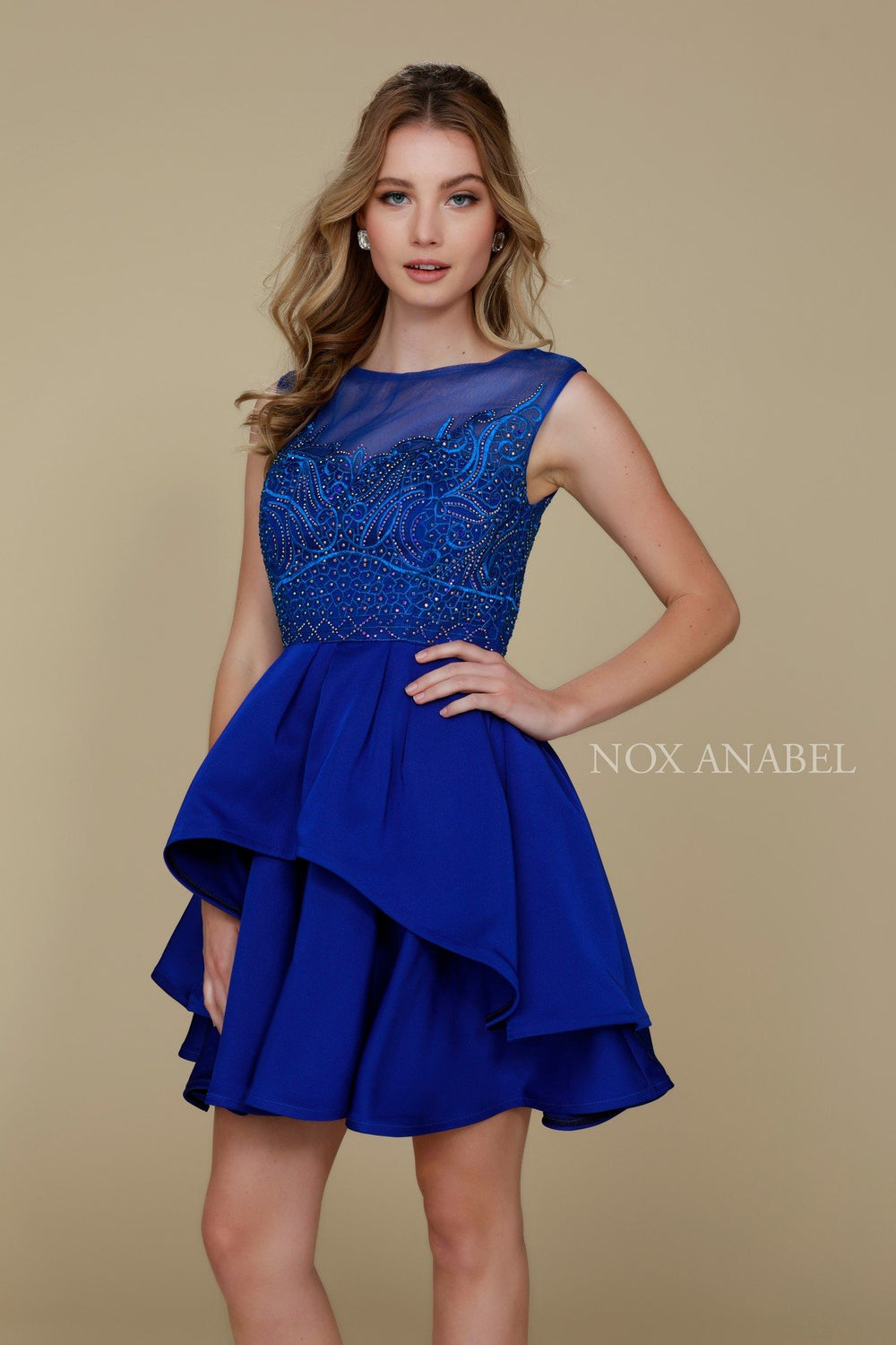ELEGANT SLEEVELESS BEADED TIERED A-LINE HOMECOMING DRESS