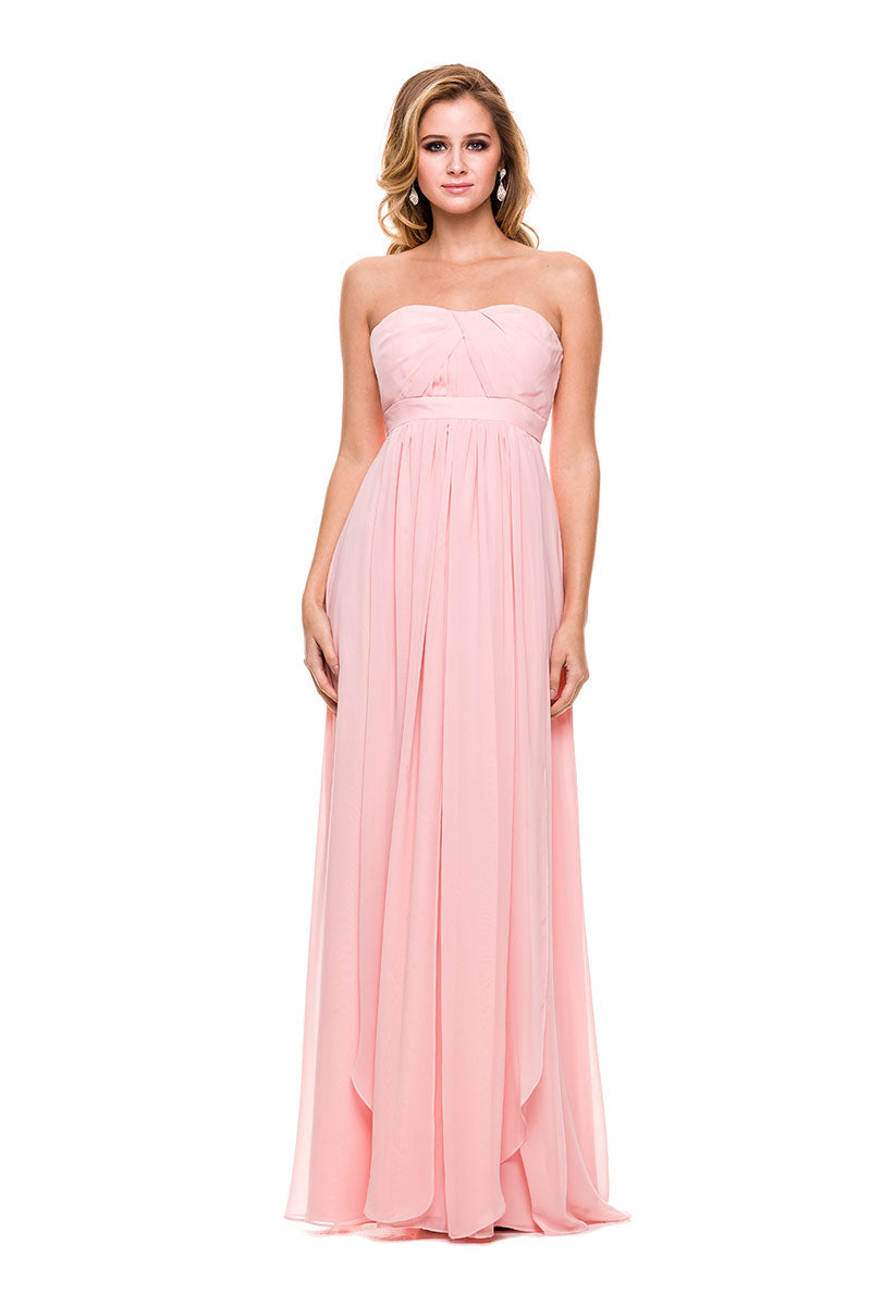 LONG PROM CHIFFON PLEATED SEMI-SWEETHEART A-LINE LONG FORMAL GOWN_7124 BY NARIANA