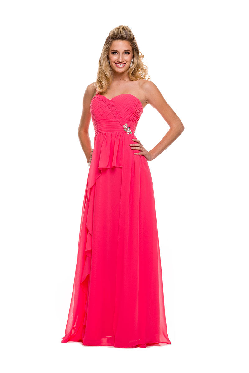 LONG PROM ONE SHOULDER RUCHED BODICE 7125 BY NARIANNA