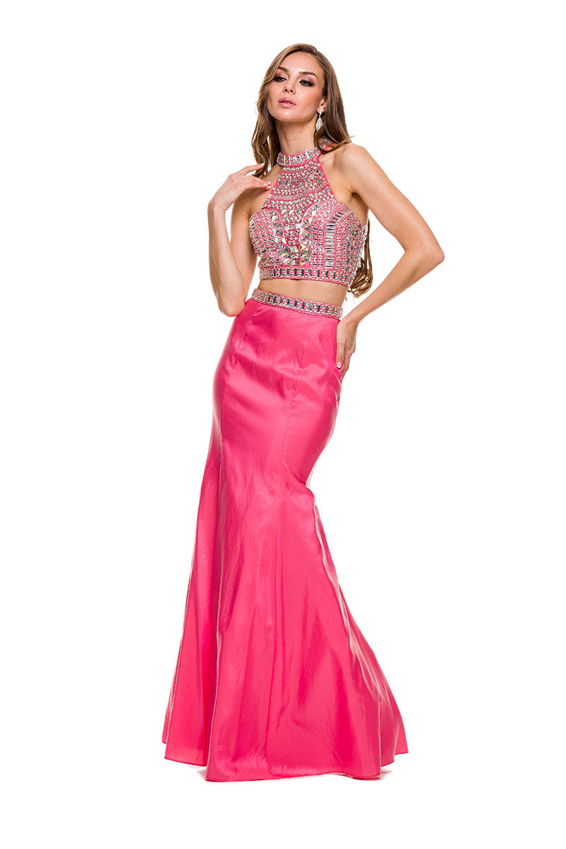 SPARKLY GEM EMBELLISHED HALTER TWO-PIECE WITH MERMAID GOWN NX8129