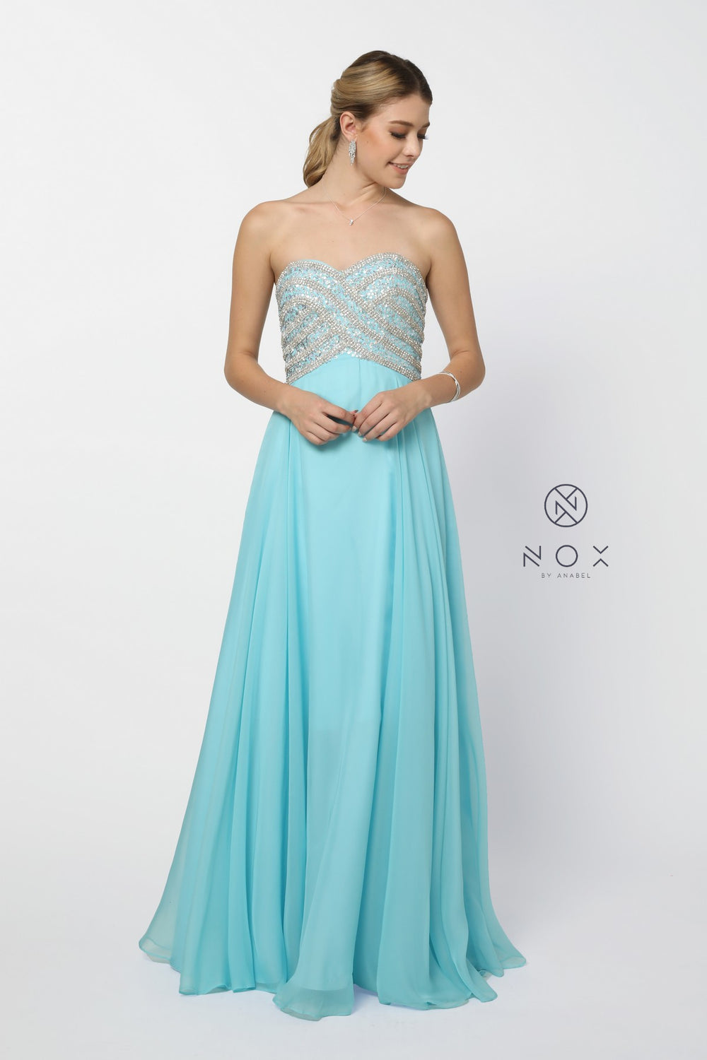 STRAPLESS LONG CHIFFON A-LINE STYLE 8147 BY NARIANNA