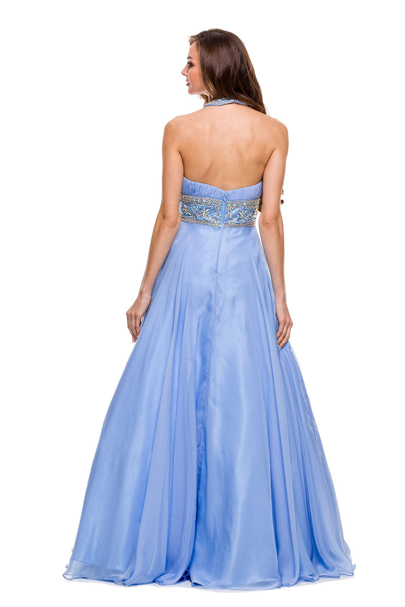 HALTER NECKLINE A-LINE CHIFFON LONG PROM 8160 BY NARIANNA