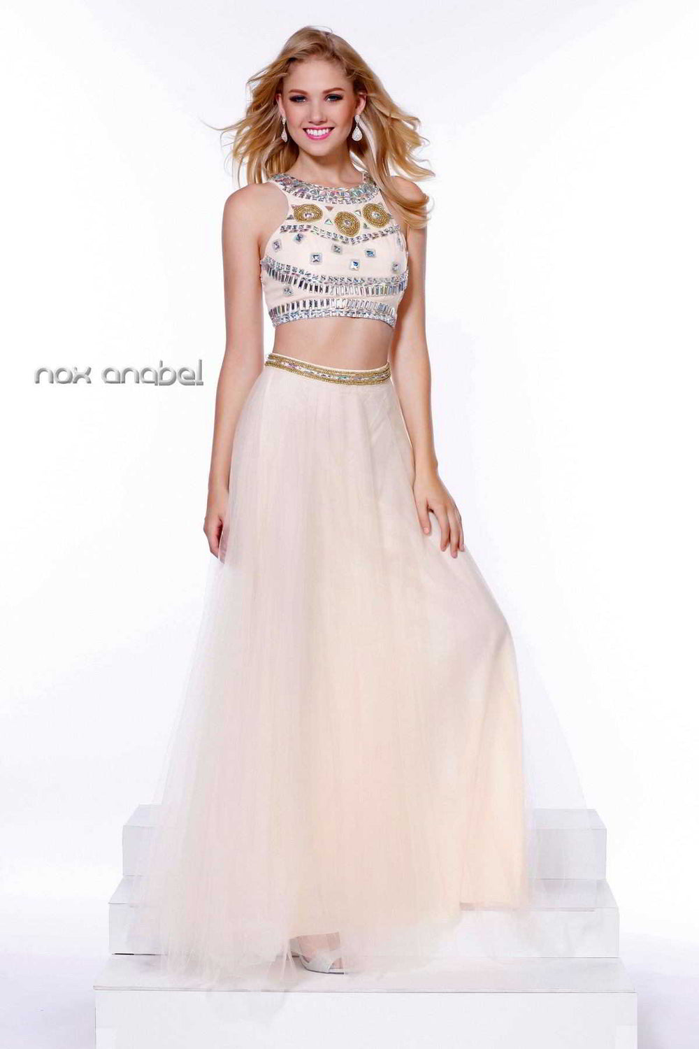 CROP TOP JEWEL NECKLINE TULLE 8162 BY NARIANNA