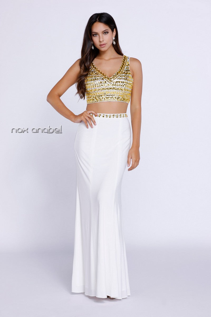 V-Neck two piece & beaded Golden Top Dress_8183 BY NARIANNA
