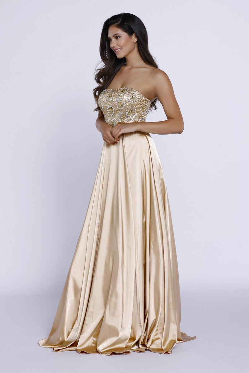 METALLIC EMBELLISHED STRAPLESS LONG EVENING GOWN BEADED TOP_8186 BY NARIANNA