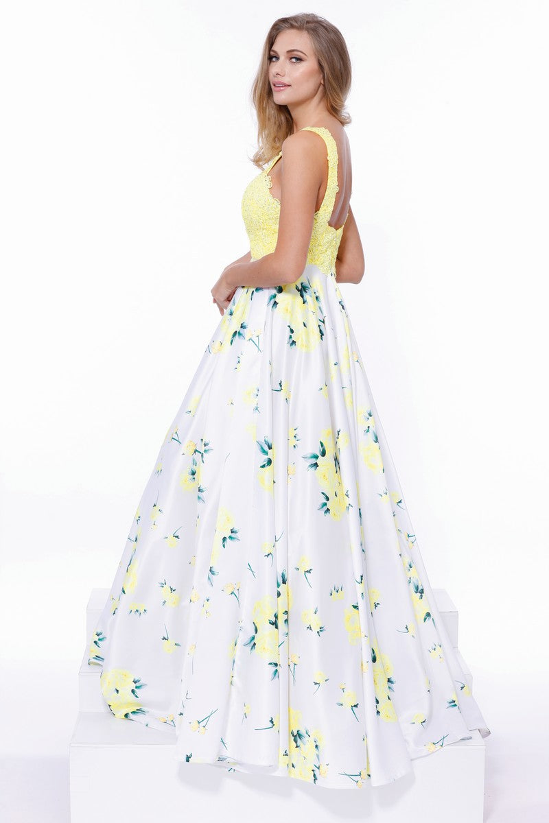 Sleeveless Yellow Floral Print Dress_8203 BY NARIANNA