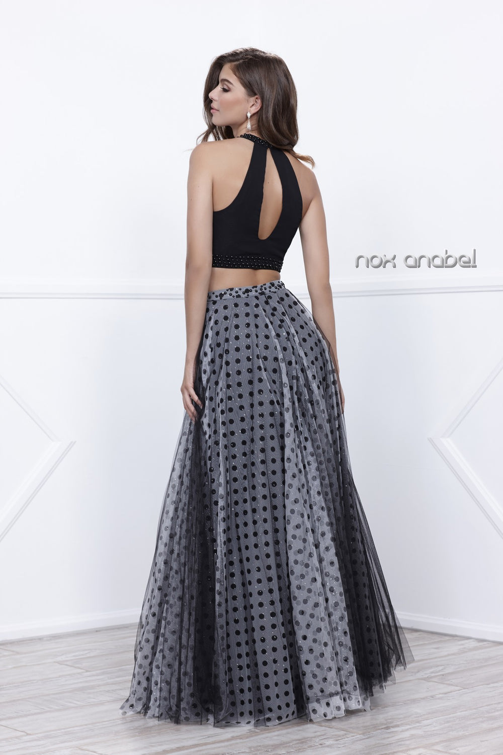 TWO-PIECE HALTER POLKA DOT PRINTED EVENING GOWN_8204 BY NARIANNA