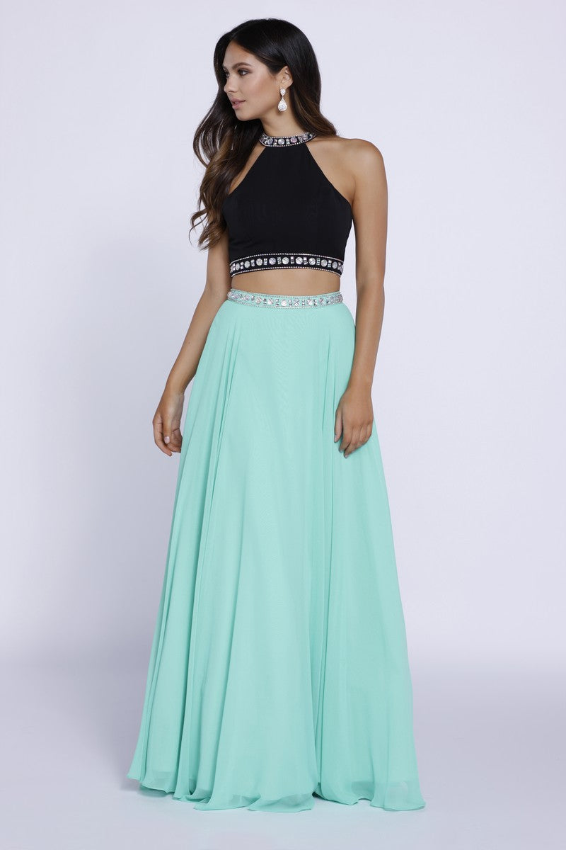 LONG WEO-PIECE BEADED HALTER CROP TOP DRESS_8214 BY NARIANNA
