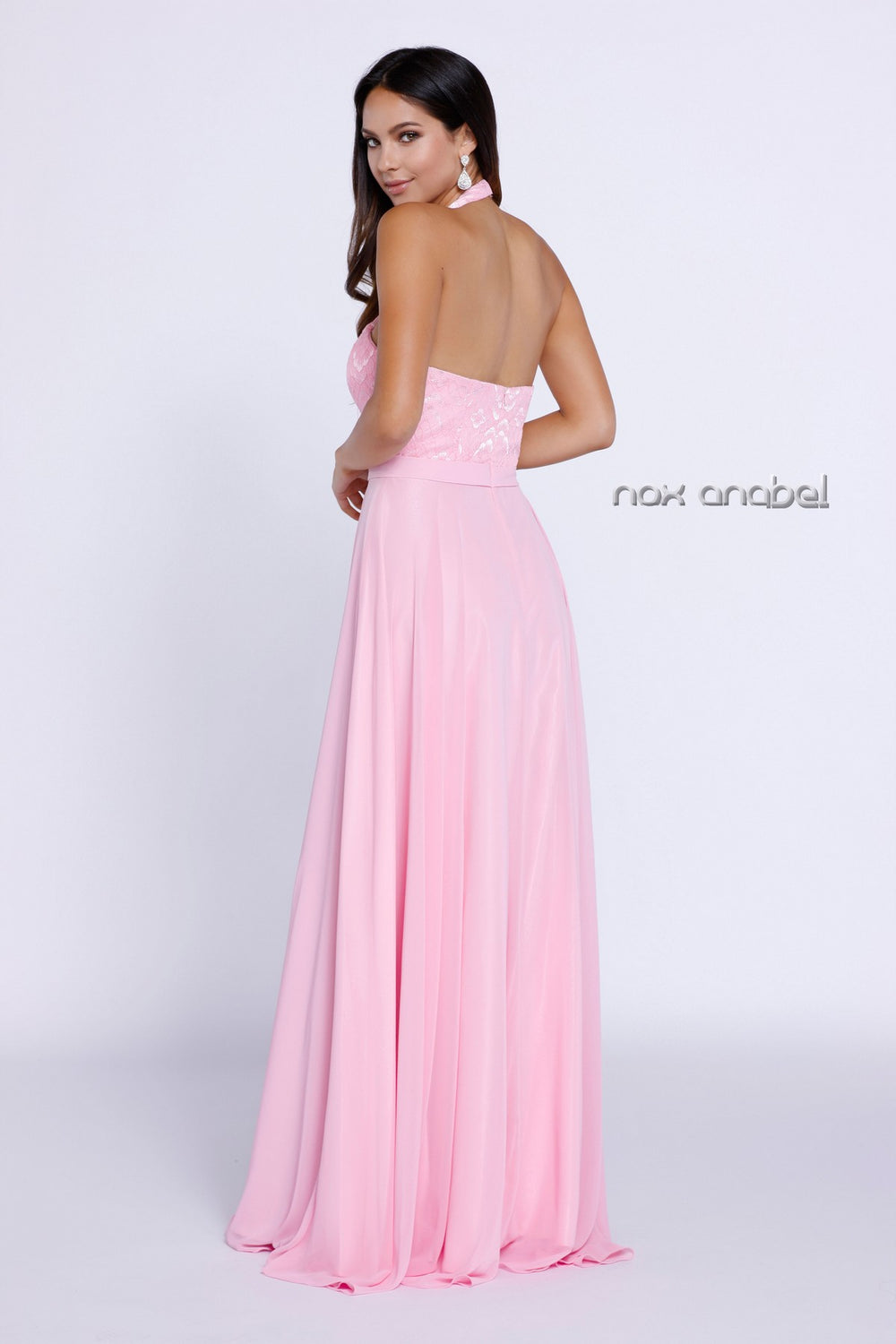 A-LINE HALTER LACED OPEN BACK LONG EVENING GOWN # NX-8233