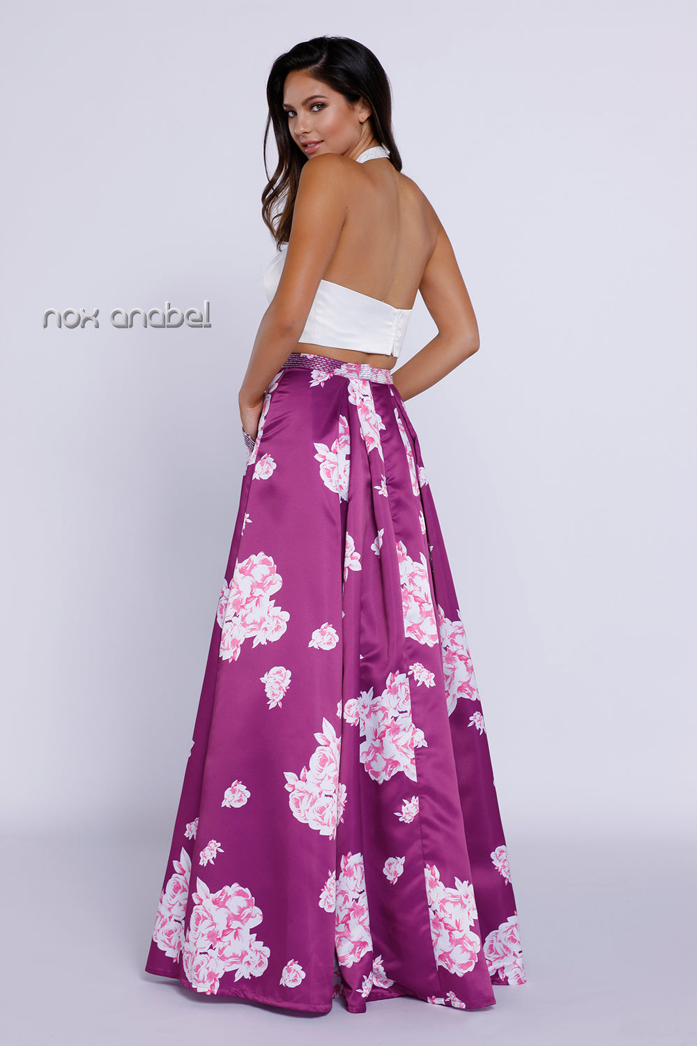 TWO-PIECE SLEEK HALTER TOP WITH A-LINE FLORAL EVENING GOWN #8245