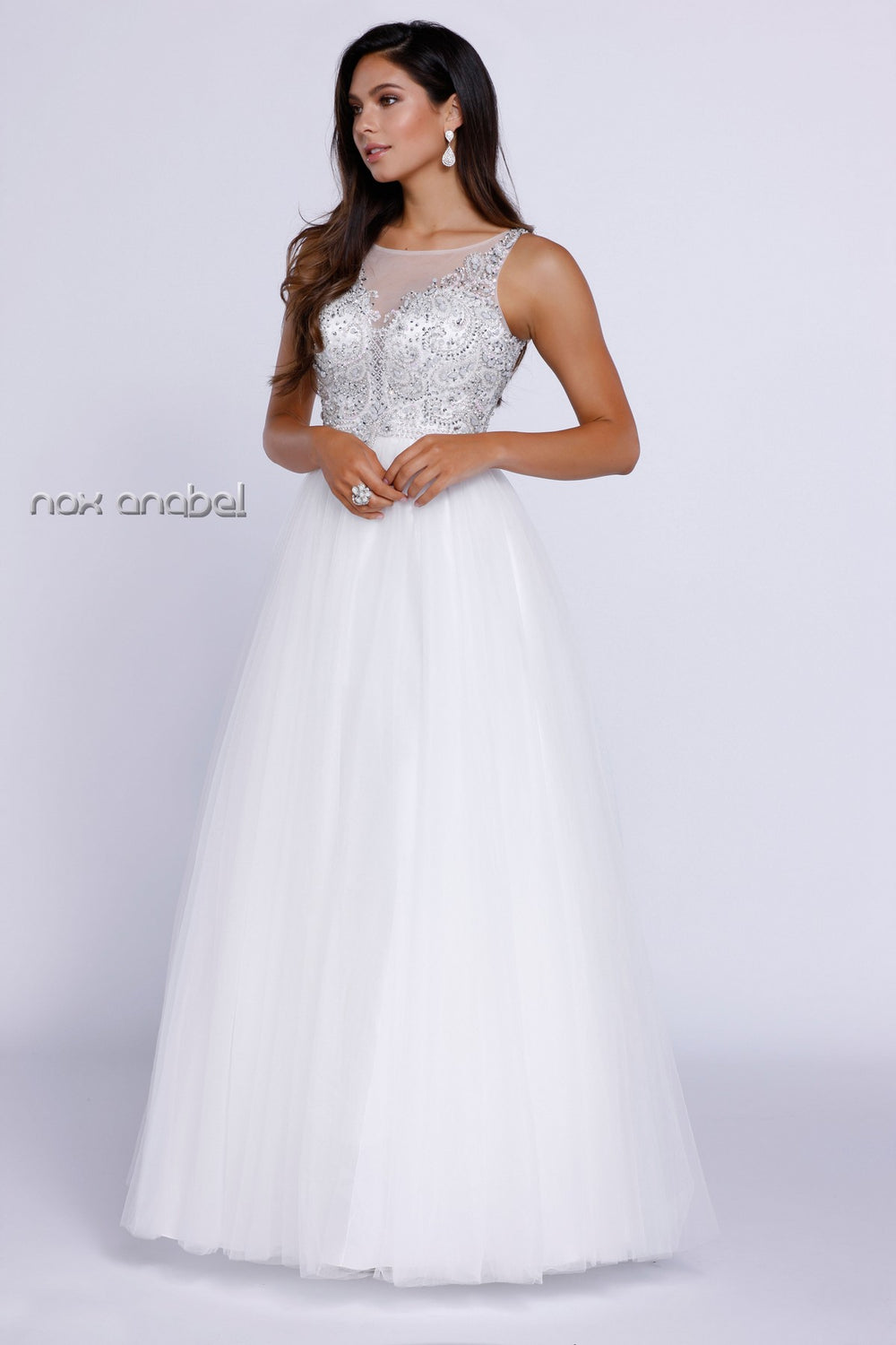 BEADED ILLUSION NECKLINE BALL GOWN 8248 BY NARIANNA