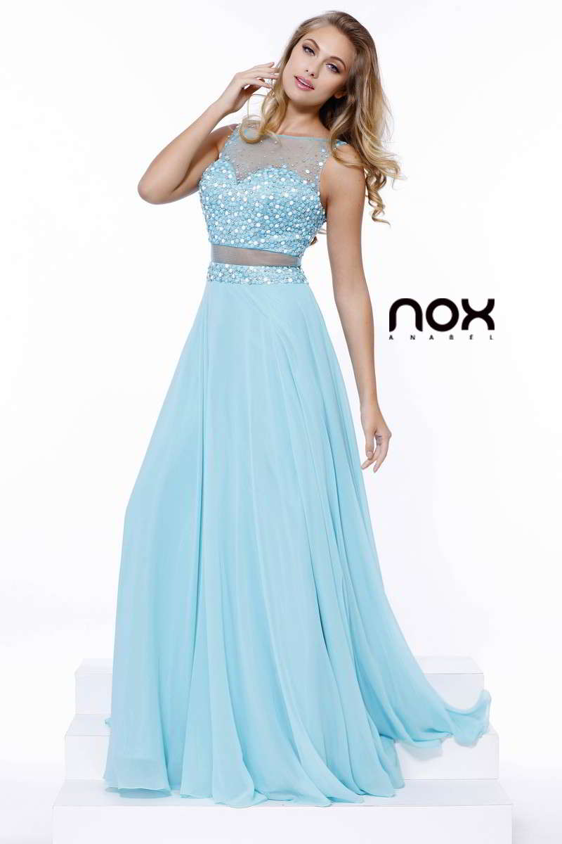 SPARKLING SHEER BEADED ILLUSION LONG EVENING PROM DRESS # 8251 NARIANNA