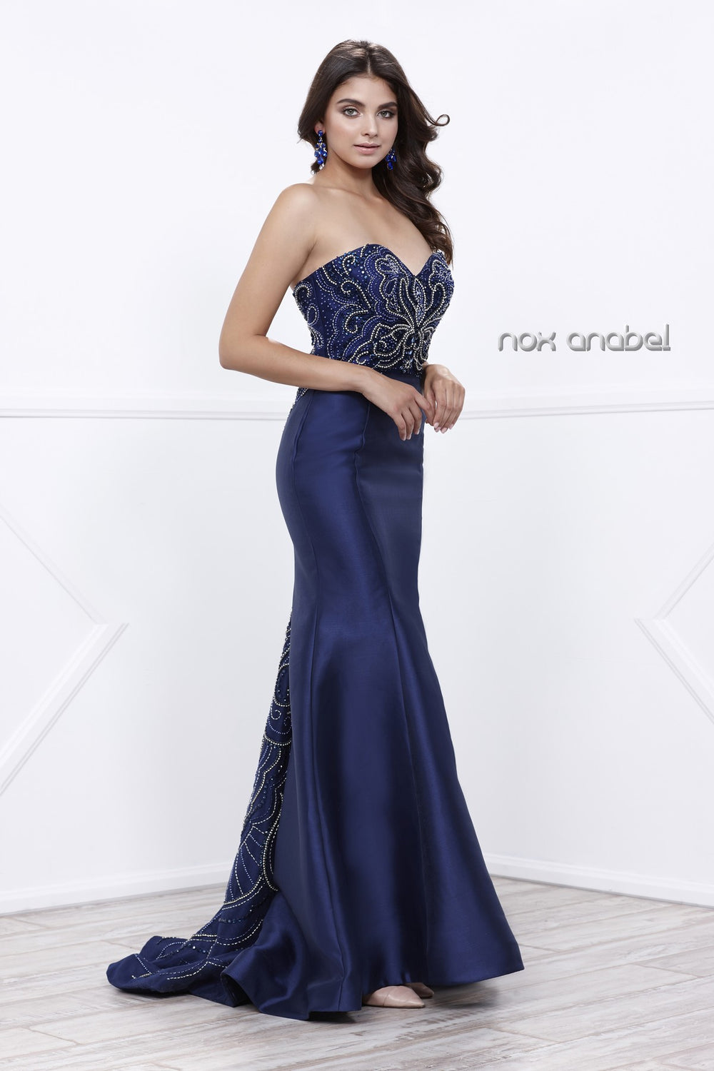 ELEGANT STRAPLESS BEADED SWEETHEART LONG EVENING DRESS 8257 BY NARIANNA