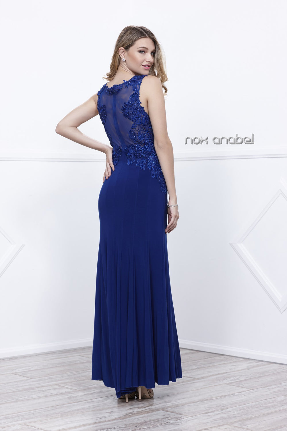 ELEGANT FITTED SIDE EMBROIDERED V-NECK SHEATH DRESS 8258 BY NARIANNA