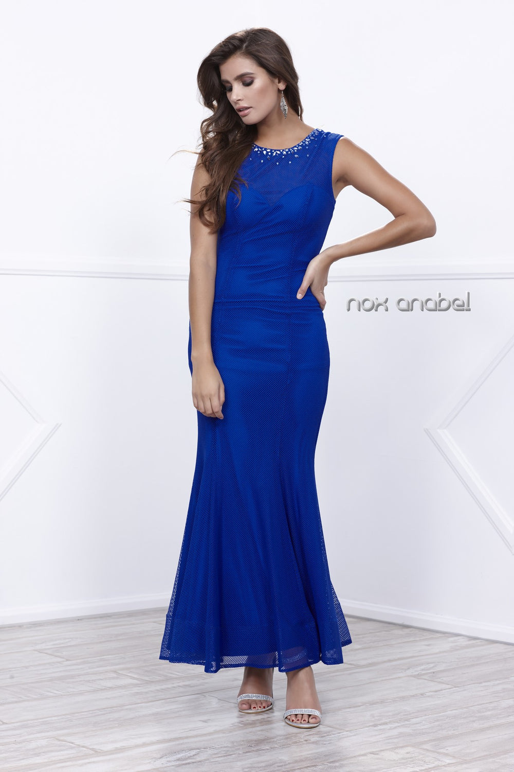 FITTED ILLUSION NECKLINE LONG BEADED MESH LINED DRESS 8259 BY NARIANNA
