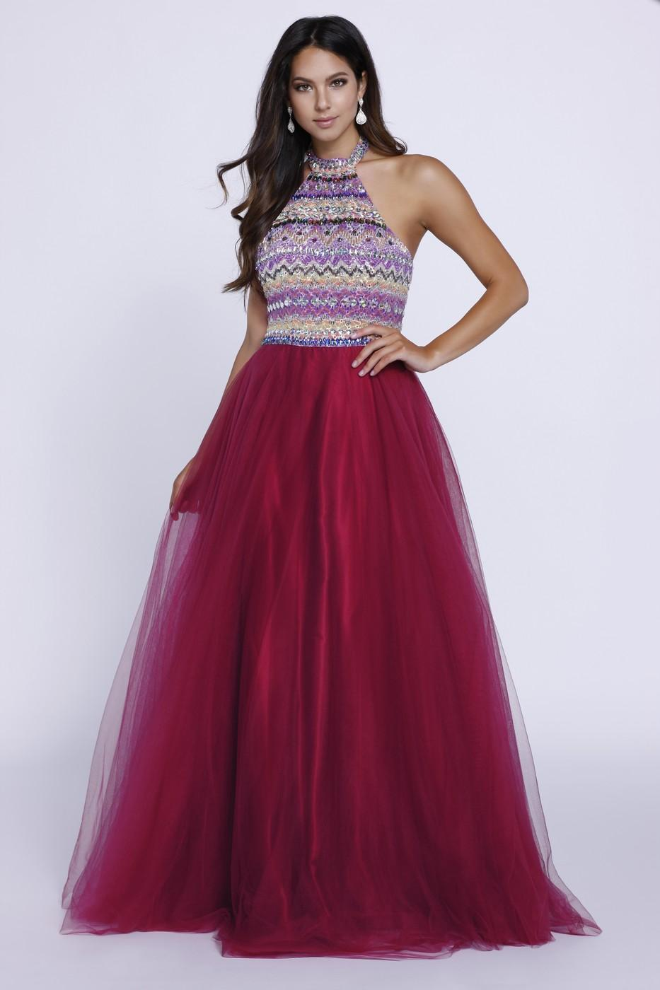 A-LINE HALTER BALL GOWN WITH SLEEVELESS EMBROIDERED TOP # 8265 BY NARIANNA