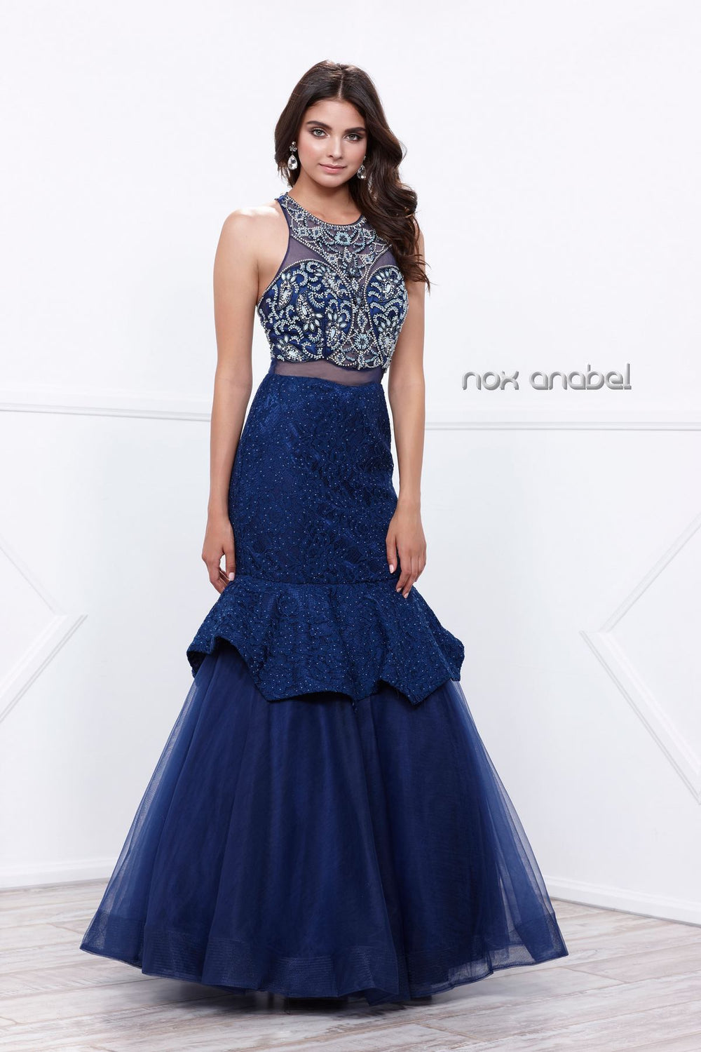 EVENING BEADED ILLUSION RUFFLED MERMAID DRESS