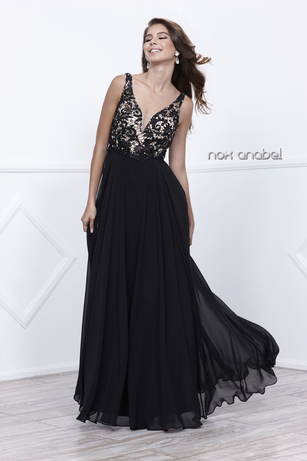 LACE SLEEVELESS MID-LOW OPEN BACK SPECIAL OCCASION DRESS