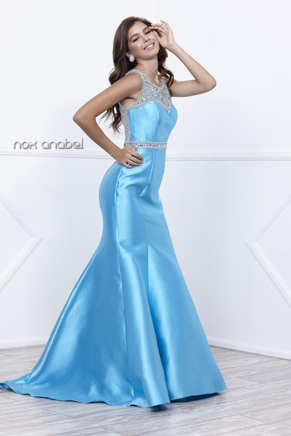 ELEGANT GEMSTONE EMBELLISHED ILLUSION BACK TRUMPET PROM DRESS