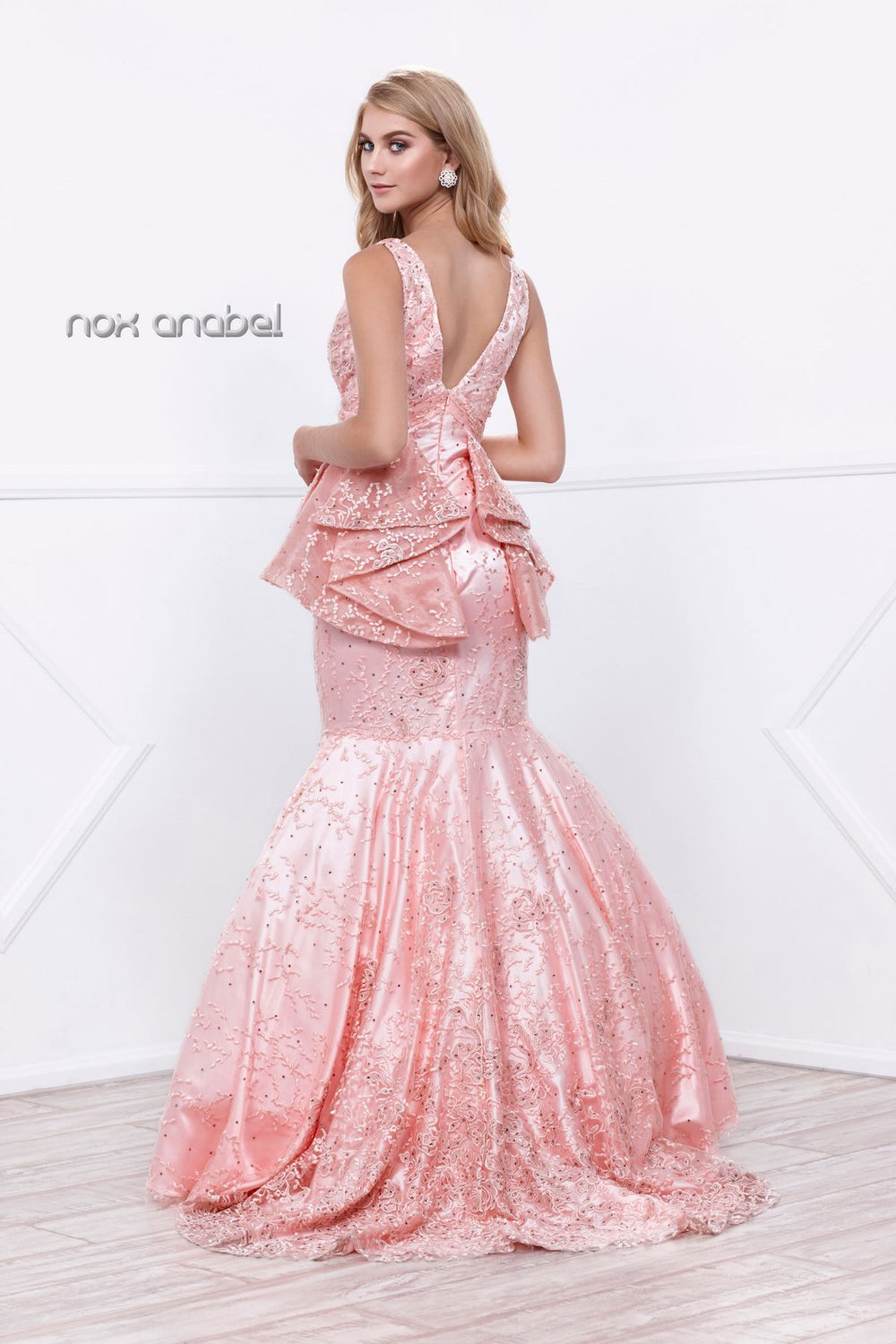 GLITTERING RHINESTONES EMBELLISHED RUFFLED PEPLUM EVENING GOWN 8311 BY NARIANNA