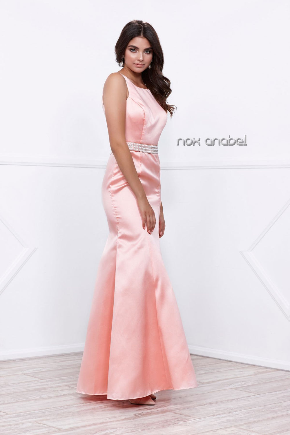 JEWEL NECKLINE BEADED WAIST TRUMPET MERMAID PROM GOWN 8320 BY NARIANNA
