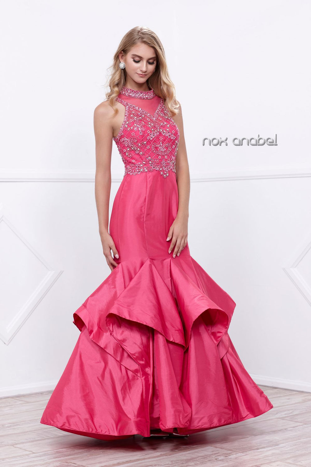 BEAUTIFUL BEADED HIGH NECK MERMAID RUFFLED EVENING GOWN 8330 BY NARIANNA