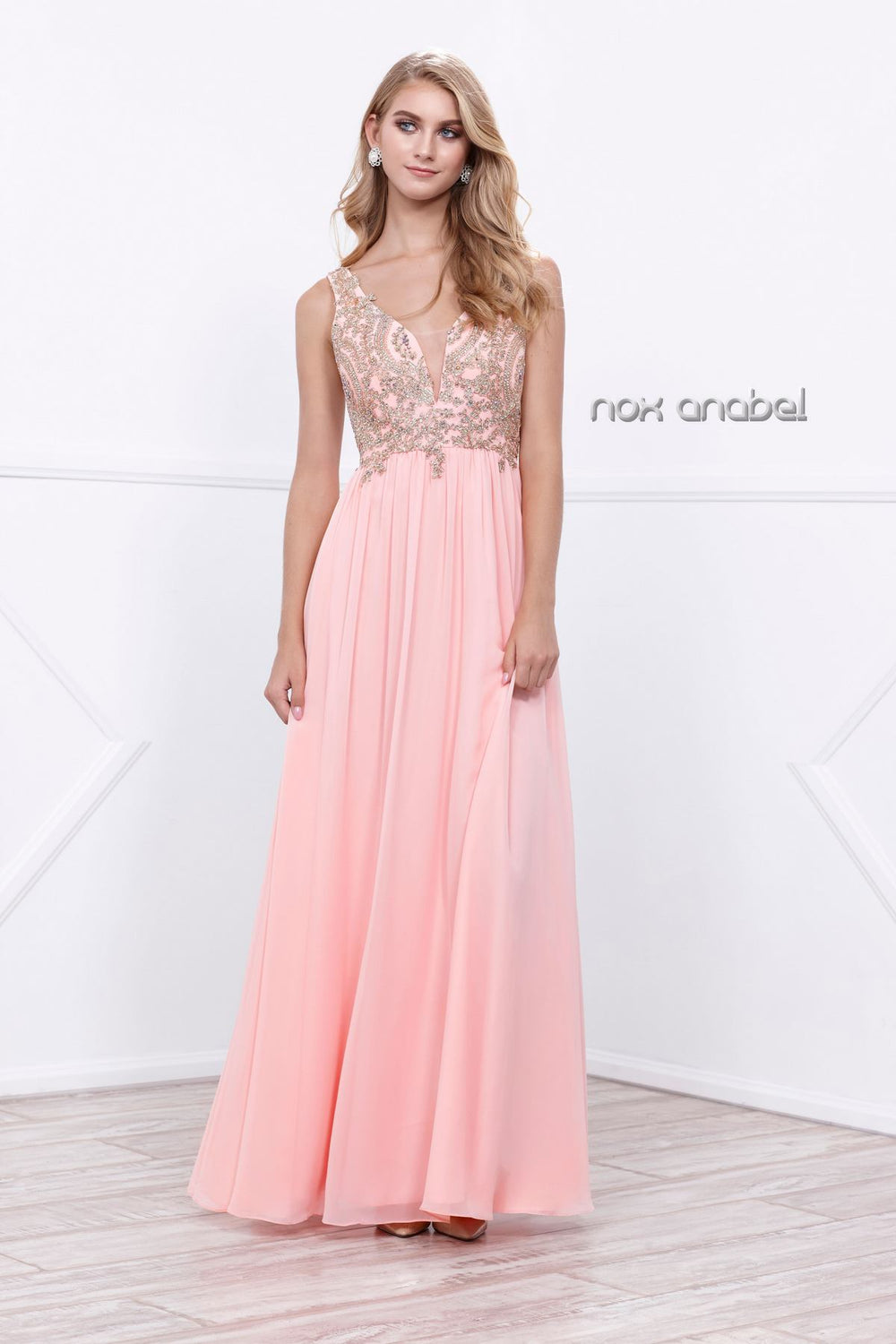 V NECK LACE BODICE FULL LENGTH PROM DRESS #8343 BY NARIANNA