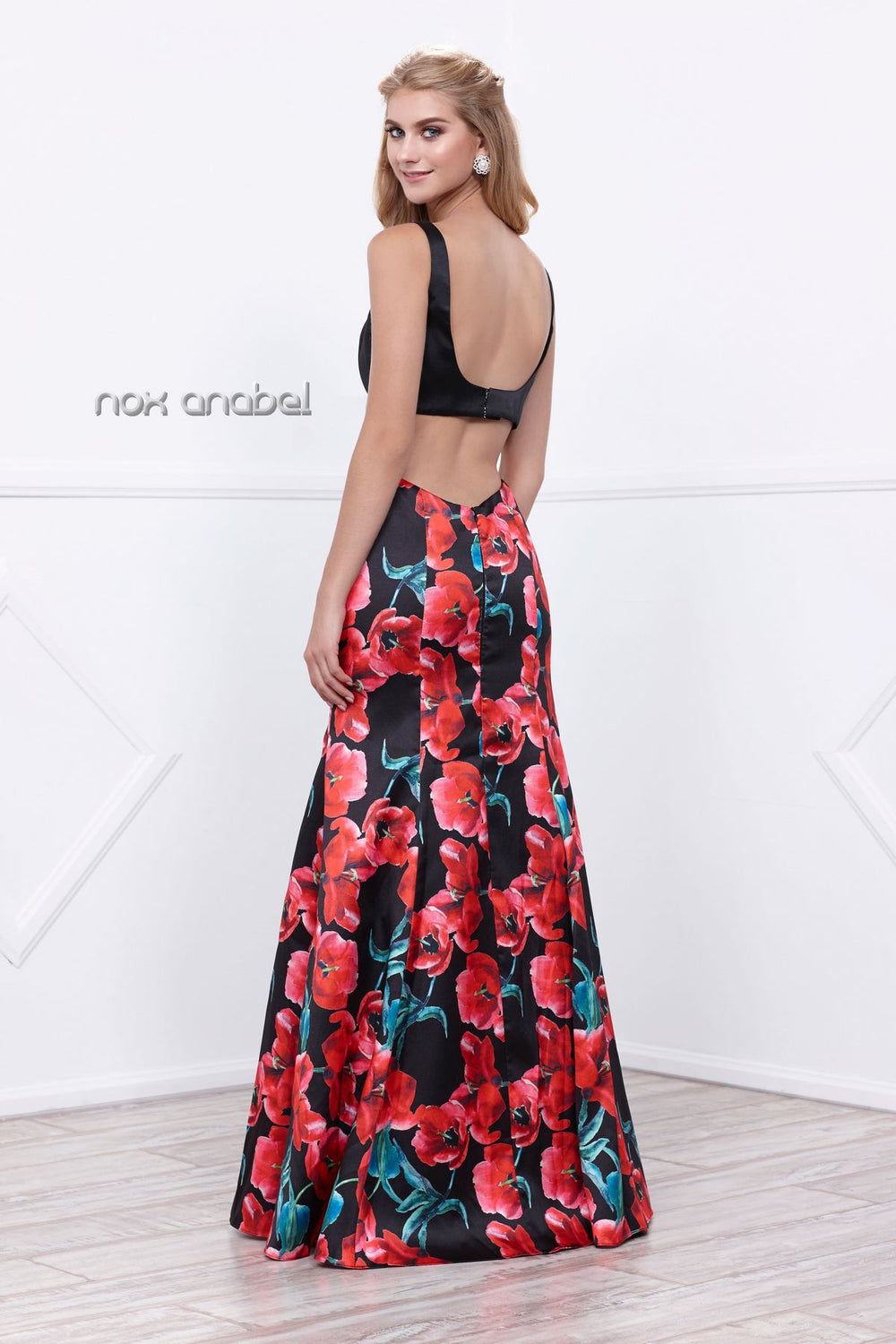 SLEEK TOP WITH FLORAL PRINT GOWN EVENING DRESS 8354 BY NARIANNA