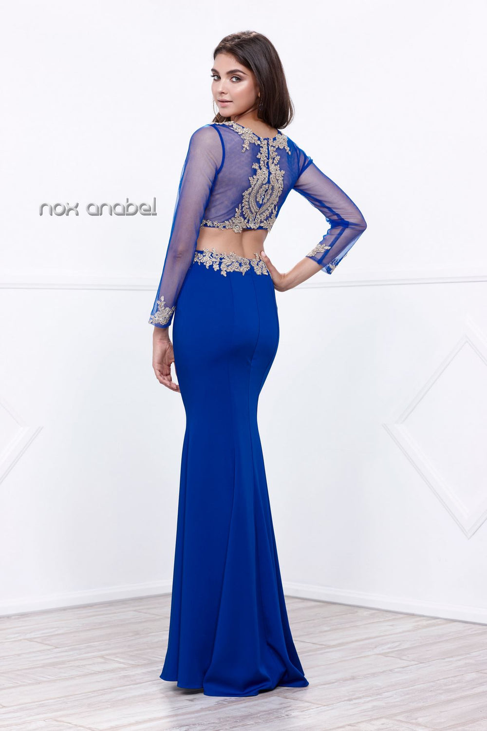 TWO PIECE LACE APPLIQUES LONG SLEEVE PROM DRESS.