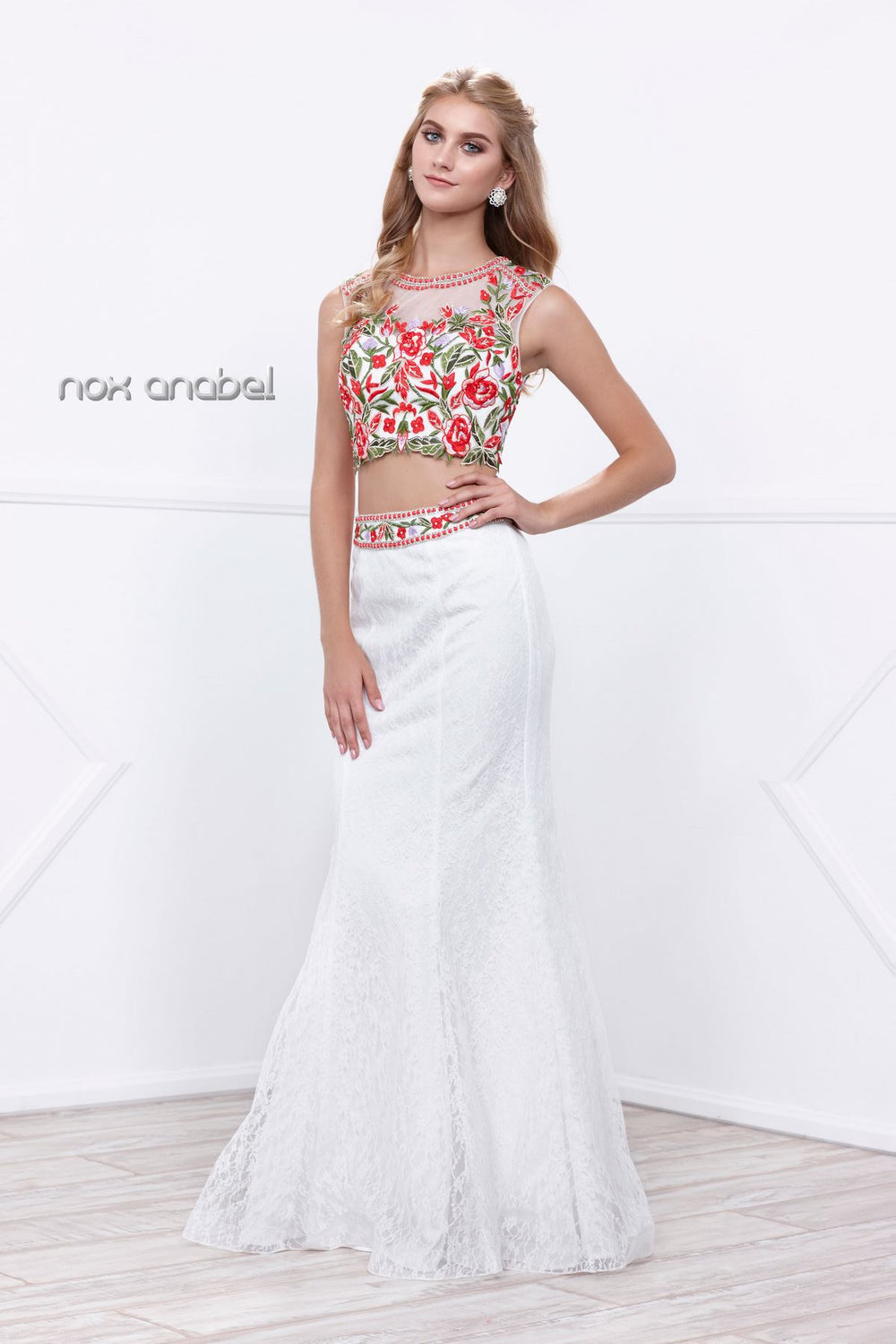 EXQUISITE EMBELLISHED HIGH NECK TWO-PIECE ILLUSION MERMAID DRESS 8373 BY NARIANNA