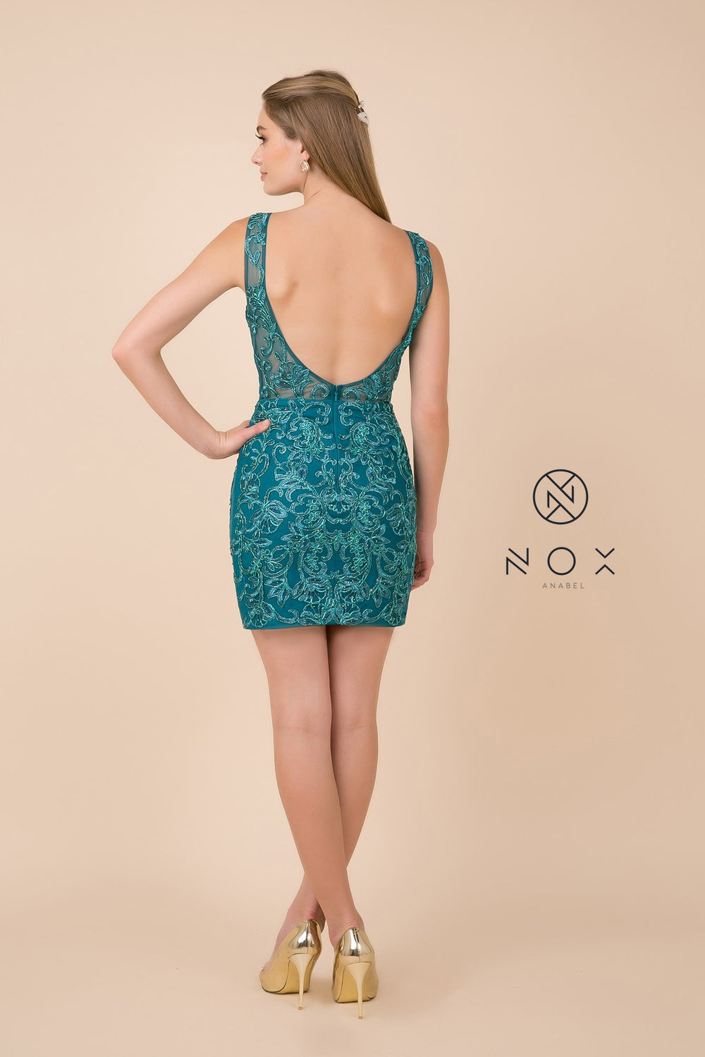 Lace Applique Bodice Fitted Short Dress_A671 BY NARIANNA