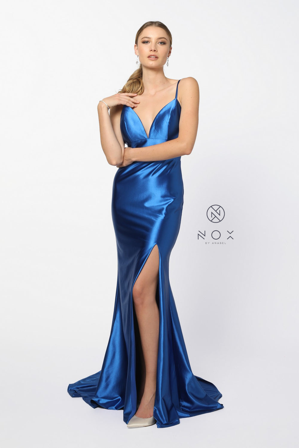 SPAGHETTI STRAPS DEEP V SATIN MERMAID SOFT LONG GOWN_C213 BY NARIANNA