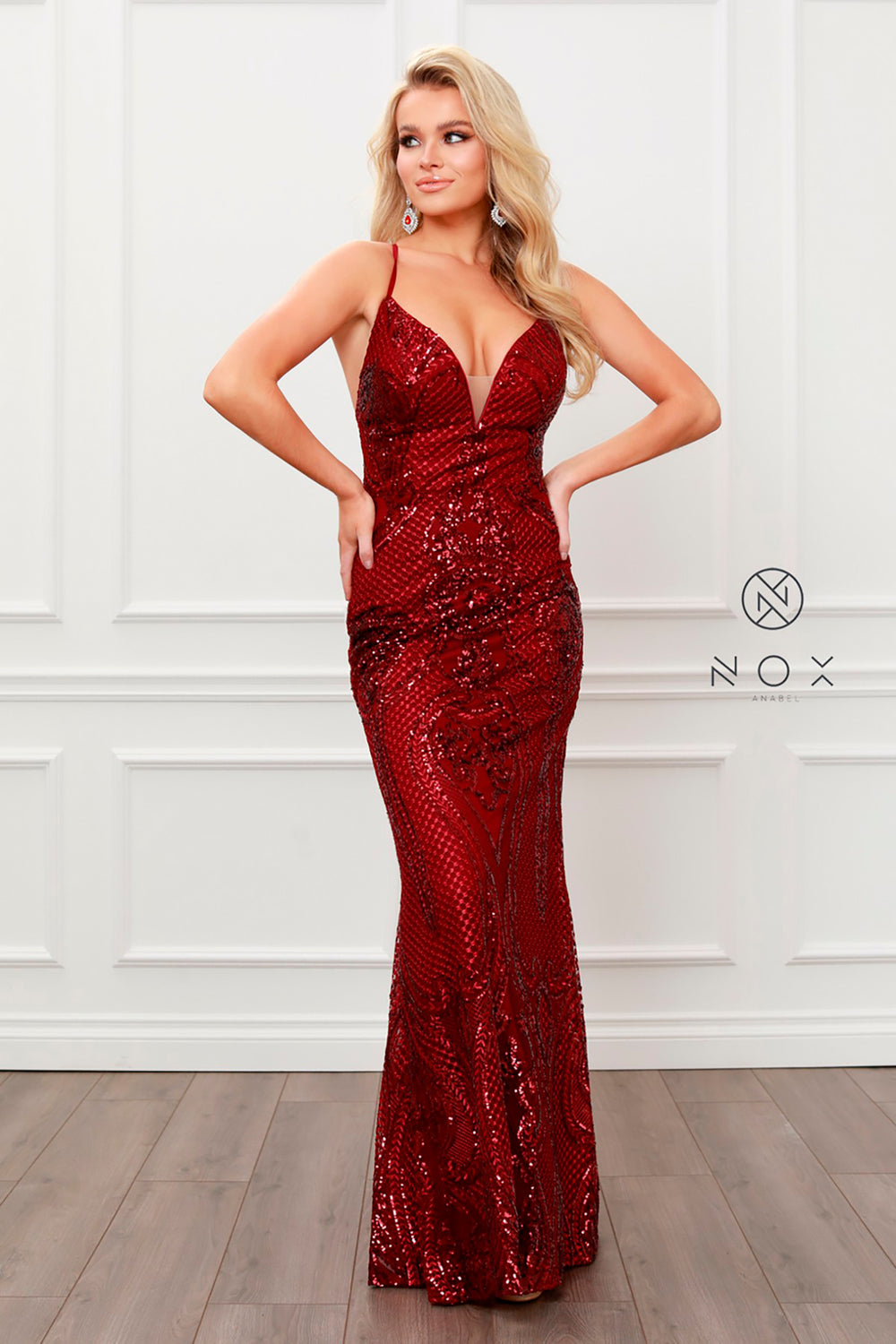 Sequin V-Neck Open-Back with Detachable Overlay_C215 BY NARIANNA